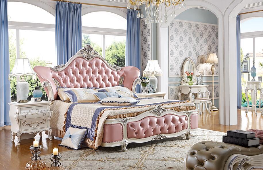 法式贵族真皮实木双人婚床