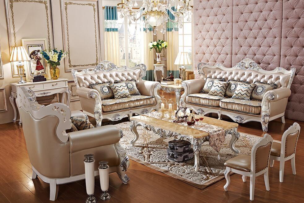 法式描银实木真皮沙发
