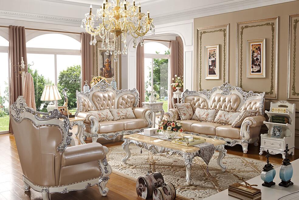 法式贵族描银实木真皮沙发