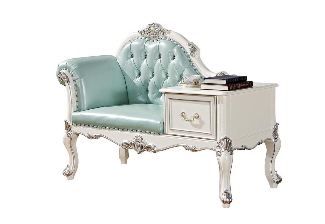 欧式实木布艺单人沙发椅贵妃榻