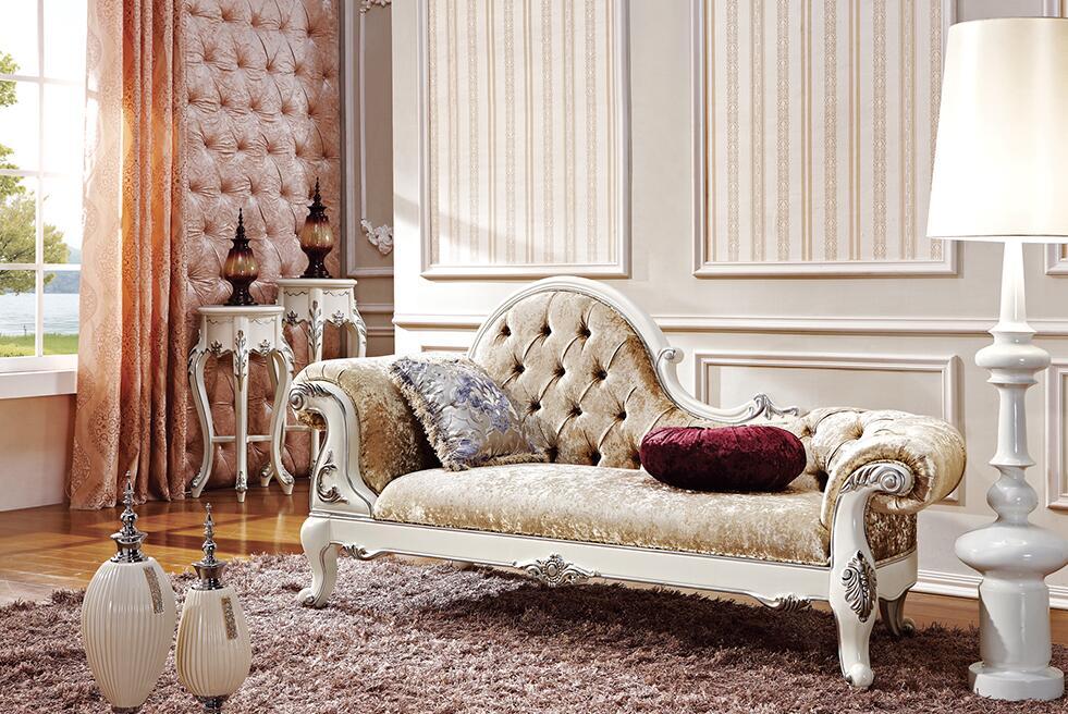 欧式真皮布艺实木沙发贵妃椅