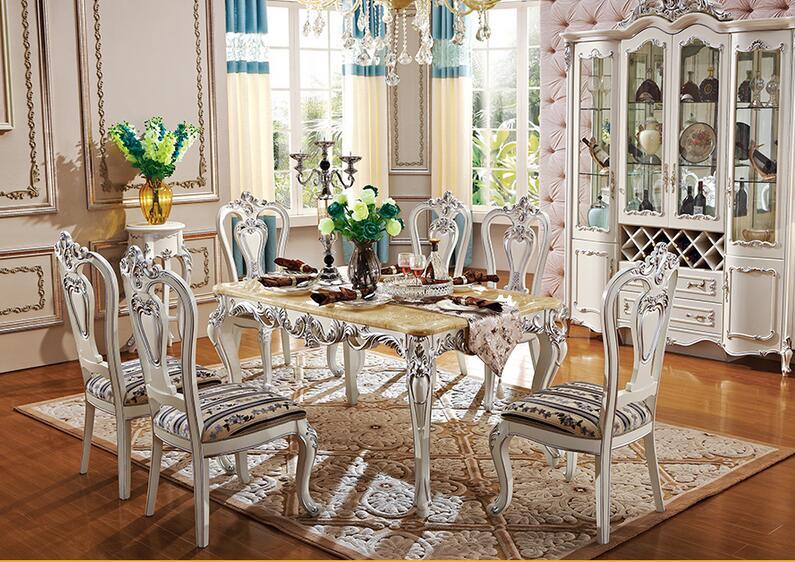 欧式大理石餐桌椅组合