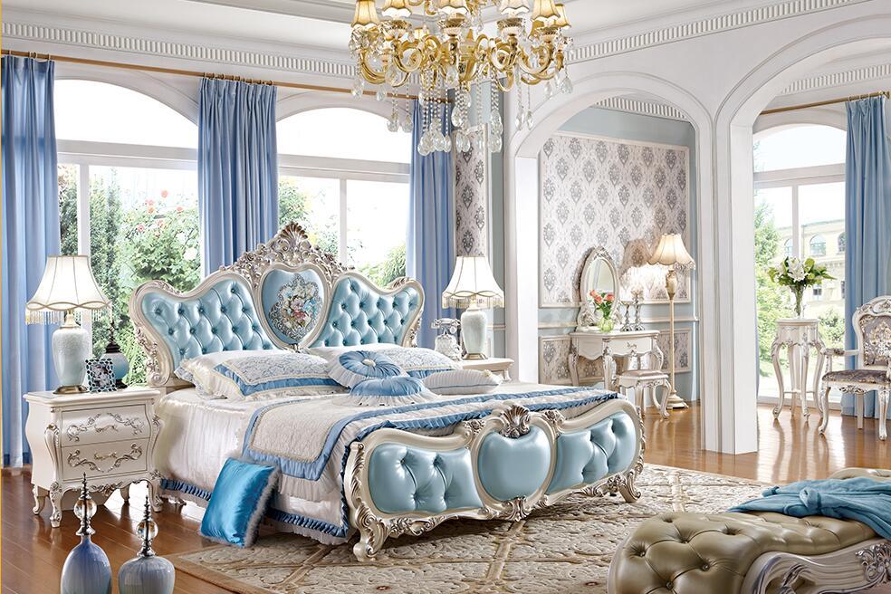 法式贵族真皮橡木实木婚床
