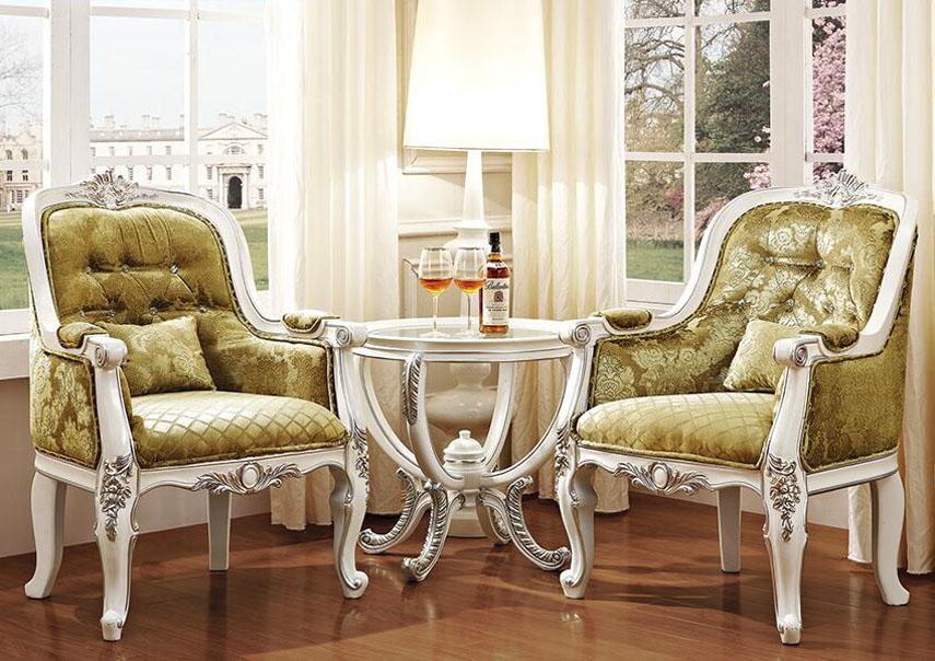 法式贵族实木洽谈咖啡桌
